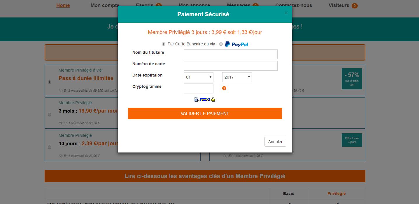 Capture d'écran du module de paiement intégré de colocation-adulte.fr